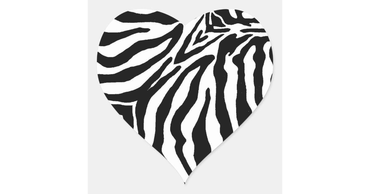 black and white zebra print heart sticker