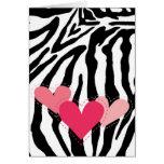 Black and White Zebra Print Hearts Card