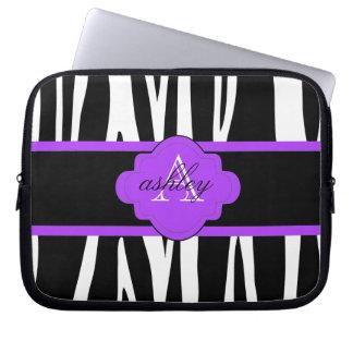Black And White Zebra Print Laptop Sleeve