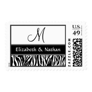 Black and White Zebra Print Monogram Wedding Postage Stamp