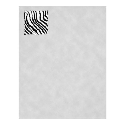 Black and White Zebra Print Pattern. Letterhead Design