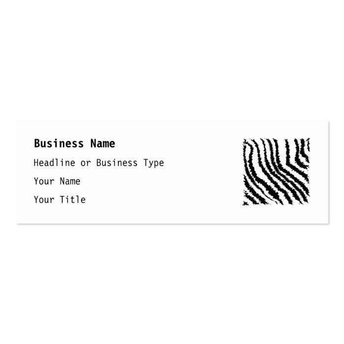 Black and White Zebra Print Pattern. Mini Business Card