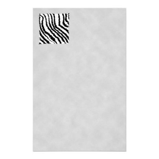 Black and White Zebra Print Pattern. Customized Stationery