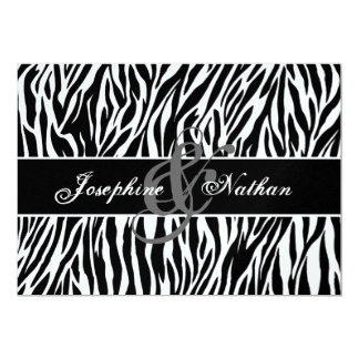 Black and White Zebra Print Personalized Wedding Announcements
