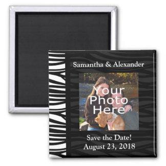 Black and White Zebra Print Photo Save the Date Refrigerator Magnet
