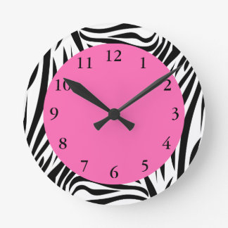 Black and White Zebra Print Round Clock