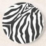 Black and White Zebra Print Sandstone Coaster