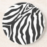 "Black and White Zebra Print Sandstone Coaster<br><div class=""desc"">black and white zebra print</div>"