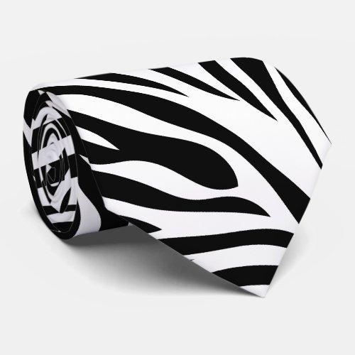 Black and White Zebra Print Tie