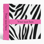 Black and White Zebra Print with Hot Pink 3 Ring Binders