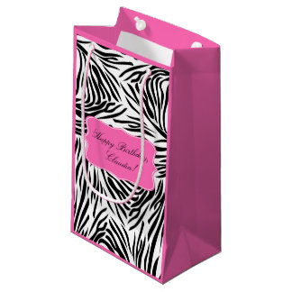 Black and White Zebra Print with Hot Pink Birthday Small Gift Bag