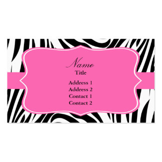 Black and White Zebra Print with Hot Pink Business Card