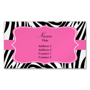 Zebra print business cards zazzle black and white zebra print with hot pink business card magnet reheart Images