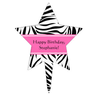 Black and White Zebra Print with Hot Pink Cake Topper