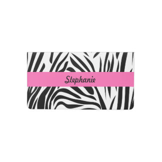 Black and White Zebra Print with Hot Pink Checkbook Cover