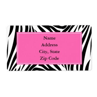 Black and White Zebra Print with Hot Pink Label