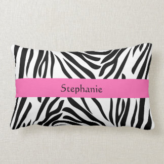 Black and White Zebra Print with Hot Pink Lumbar Pillow