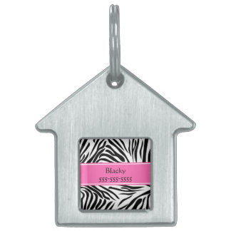 Black and White Zebra Print with Hot Pink Pet ID Tag