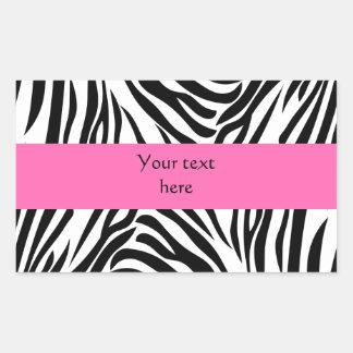 Black and White Zebra Print with Hot Pink Rectangular Sticker
