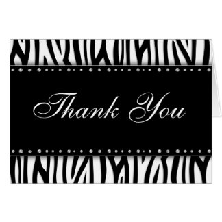 Black and White Zebra Printed Diamonds Thank You Stationery Note Card