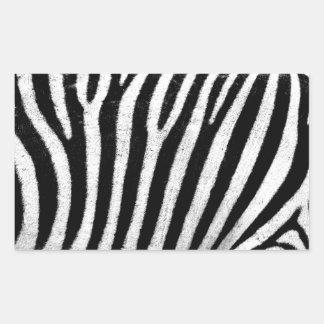 Black and white zebra rectangular sticker