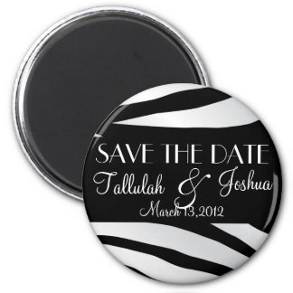 Black and White Zebra Save The Date Magnet