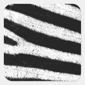 Black and white zebra square sticker
