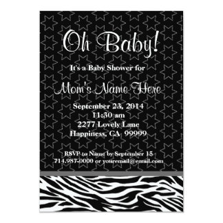 Black and White Zebra Stars Neutral Baby Shower Card