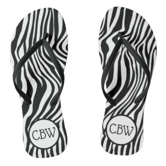 Black and White Zebra Stripe Animal Print Monogram Flip Flops