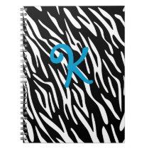 Black and White Zebra Stripe Monogram Notebook