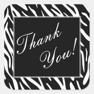 Black and White Zebra Stripe Thank You Stickers
