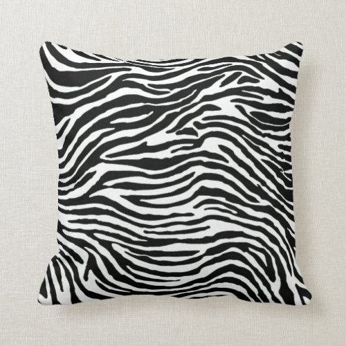 black and white zebra stripe throw pillow
