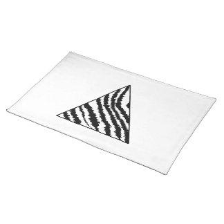 Black and White Zebra Stripe Triangle. Monochrome. Cloth Placemat