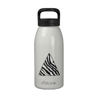 Black and White Zebra Stripe Triangle. Monochrome. Water Bottles