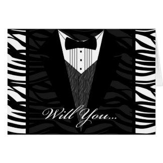 Black and White Zebra Stripe Wedding Party Invite Cards