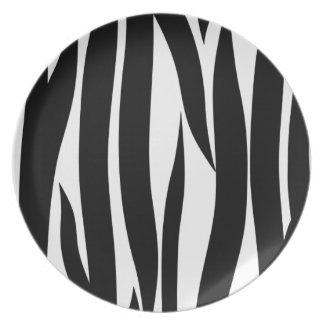 Black and White Zebra Striped Pattern Party Plate