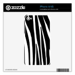 Black and White Zebra Striped Pattern Skins For iPhone 4S
