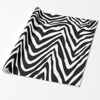 Black and White Zebra Stripes Animal Print Wrapping Paper