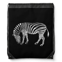 Black and White Zebra Stripes Art Drawstring Backpack