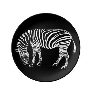 Black and White Zebra Stripes Art Plate