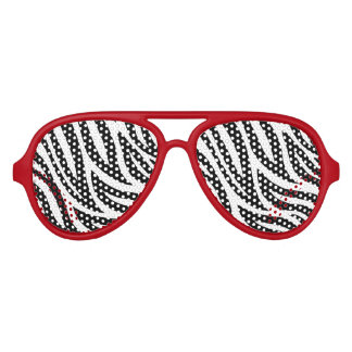 Black and White Zebra Stripes Aviator Sunglasses