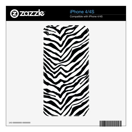 Black and White Zebra Stripes iPhone 4S Decals