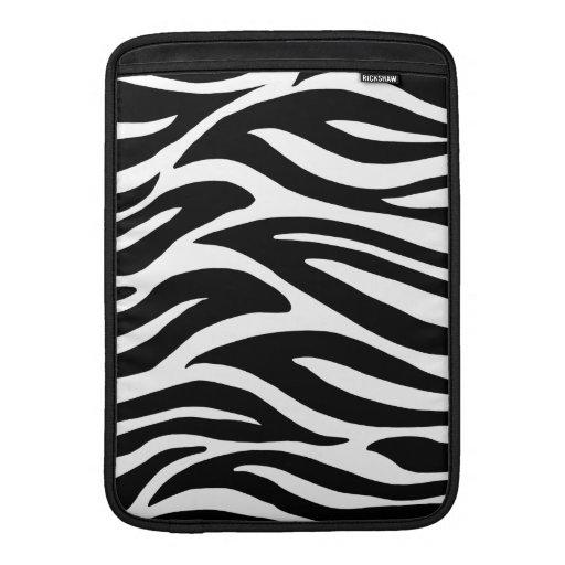 Black and White Zebra Stripes MacBook Sleeves