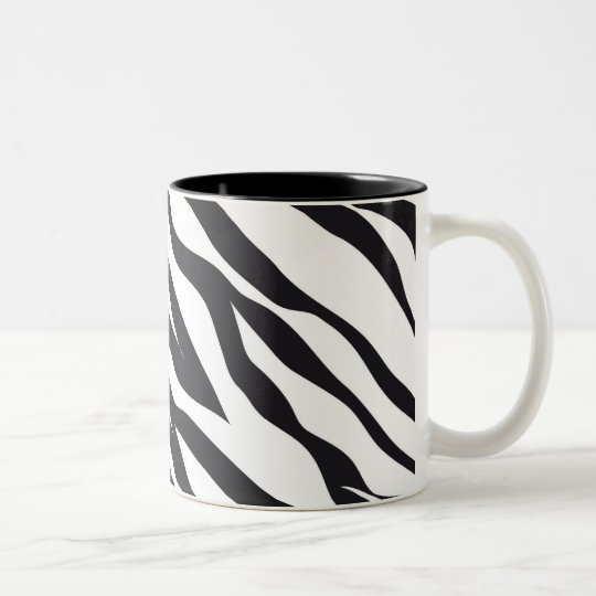 Black and White Zebra Stripes Print Pattern Gifts Two-Tone Coffee Mug