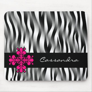 Black and white zebra stripes with hot pink decor mousepads