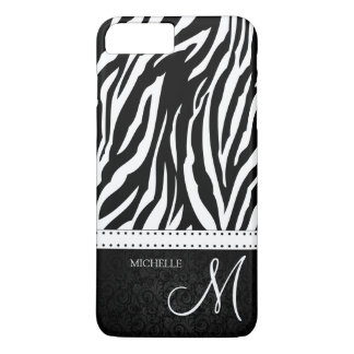 Black and White Zebra stripes with monogram iPhone 7 Plus Case