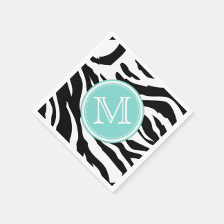 Black and White Zebra Stripes with Monogram Napkin