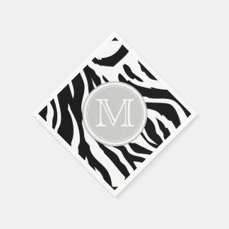 Black and White Zebra Stripes with Monogram Standard Cocktail Napkin