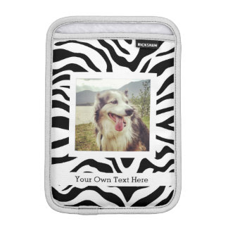 Black and White Zebra Stripes with Photo and Text Sleeve For iPad Mini