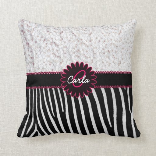 Black and White Zebra Stripes with Sequins Throw Pillow Zazzle
